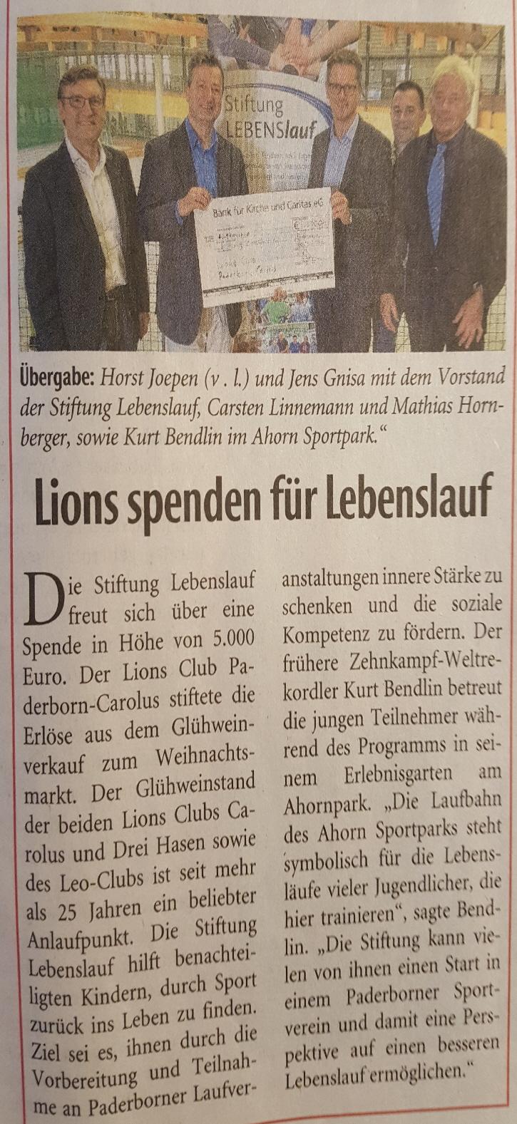 Read more about the article Lions spenden für Lebenslauf