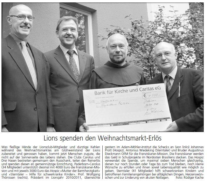 Read more about the article Lions spenden den Weihnachtsmarkt-Erlös